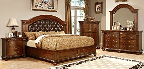 GRANDON Traditional Formal Look Cherry Finish Leatherette Tufted HB California King Size Bed w Matching Dresser Mirror Nightstand Luxurious Bedroom (California King Cherry Dresser)