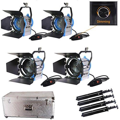 Top-Fotos Total 3300 Watt Dimmer Built- in Fresnel Tungsten Photo Video Studio Continuous Lighting Light Spotlight,Aluminium Case,Air Cushioned Stands Kit