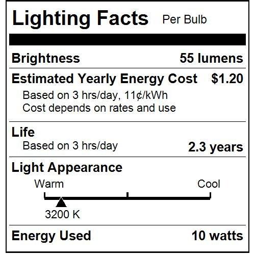 Crystal Clear Bulb E12 Candelabra 25 Pack Base Sunlite 10CFC//25//25PK Flame Tip 10W Incandescent Petite Chandelier Light Bulb