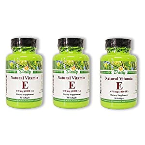 Daily Manufacturing -Natural Vitamin E 1000 IU |50 Capsules, 3 Pack
