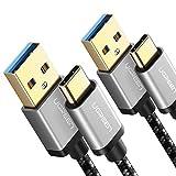 2x UGREEN Cable USB C, Cable USB Tipo C a USB 3.0 Nylon Trenzado Carga Rápida para Celulares USB Type C Samsung S9 Note,S8 Plus S8 Note 8, Huawei Mate 20 Huawei P20 P10 P9 Mate, Xiaomi Mi6 Mi A1, LG G6, Sony XZ2 (2M, 2Unidad)