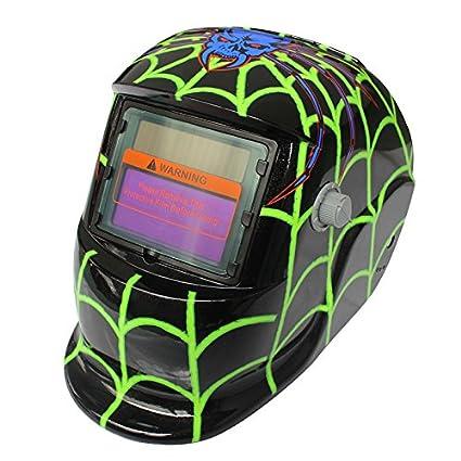 SODIAL 2018 Nuevo Pro Mascara soldador solar Casco de soldadura de oscurecimiento automatico Telarana verde