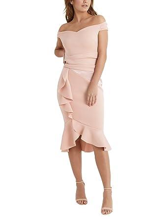 Lipsy Women Satin Panel Bardot Flute Hem Bodycon Dress Pink Us 10