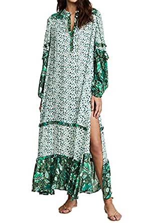 R.Vivimos Women's Long Sleeve Floral Print Bohemian Maxi Dresses with Slit (Small, Green)