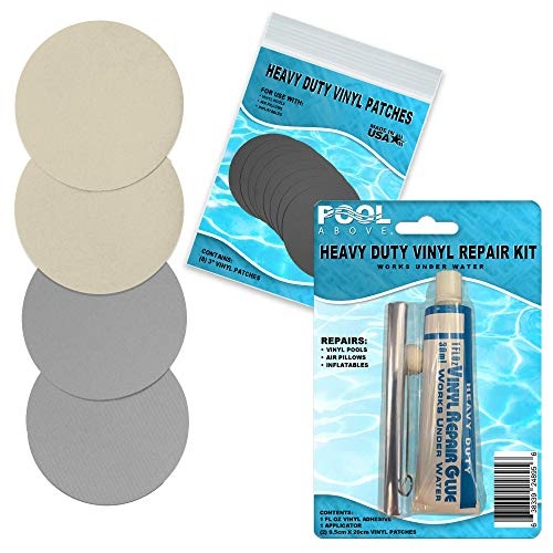 Pool Above Repair Kit for Durabeam Single Fiber Tech Airbed   Vinyl Glue   Gray and Beige Patches
