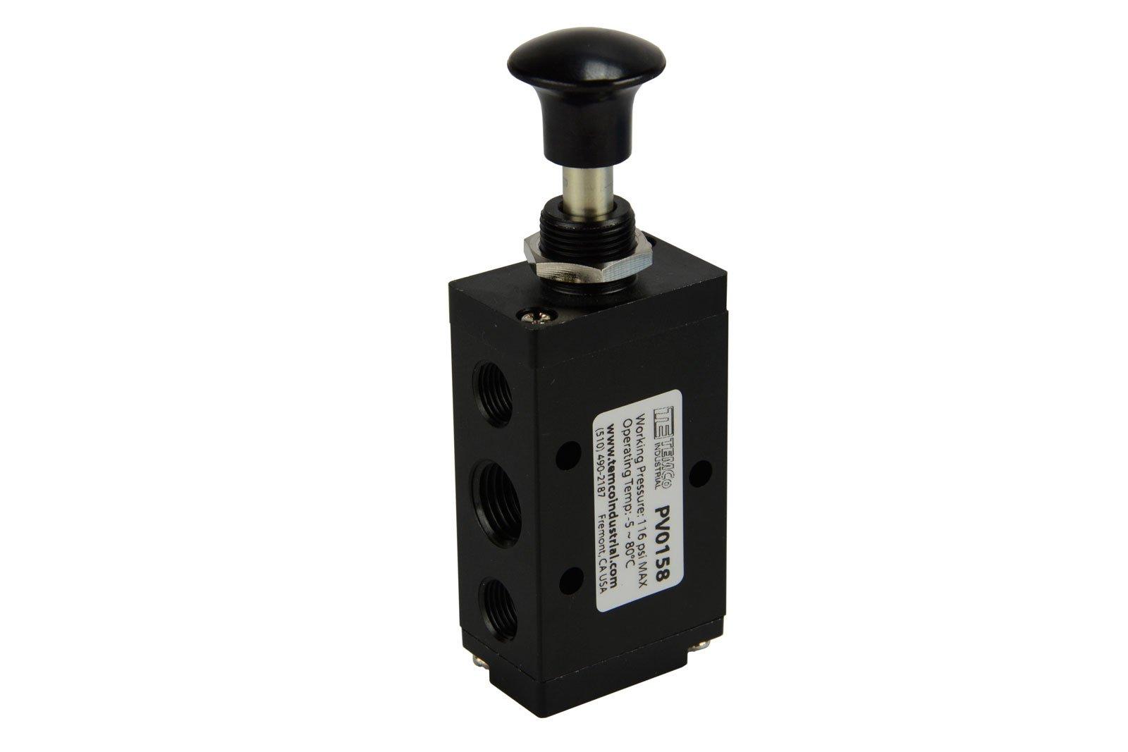 Hand Push Pull Button Pneumatic Air Control Valve 5 Port 4 Way 2 Position 1/4'' NPT