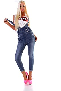 Fashion4Young 5193 Damen Jeans Latzhose Röhrenjeans