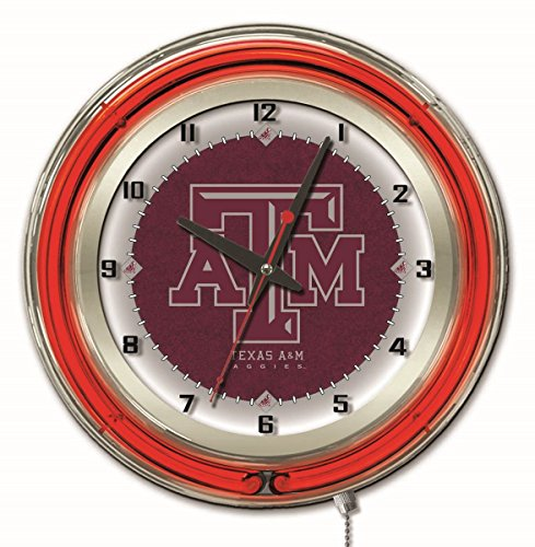 Texas A&M Aggies HBS Neon Red Maroon College Battery Powered Wall Clock (19
