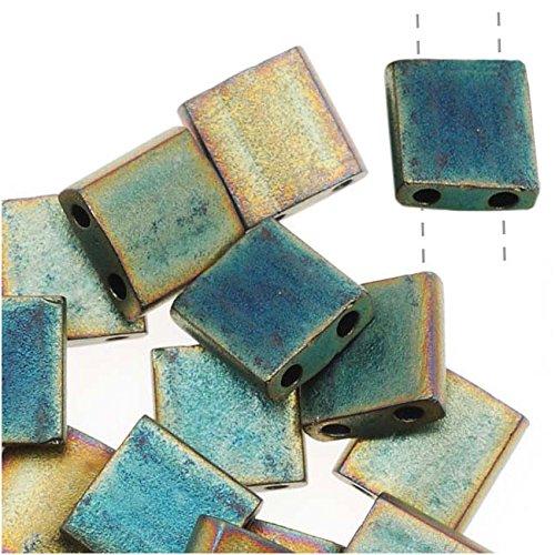 Miyuki Tila 2 Hole Square Beads Matte Metallic Green (Green Iris Matte)