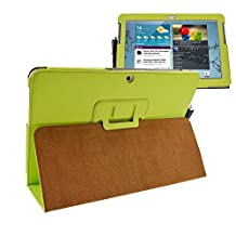 Tab 2 10.1 gt-p5100 p5110 cover case-folio flip book cover case for samsung galaxy tab 2 10.1 magnetic pu leather stand cover (green)