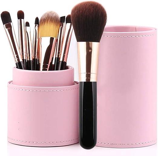 ZYFF huazhuangshua Set De Pinceles de Maquillaje, 8 Piezas, Kit De Pinceles De Maquillaje De Colores con Estuche para Cepillos De Maquillaje, Rosa, Negro (Color : Negro): Amazon.es: Hogar