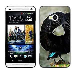 Pájaro tropical Negro Ornitología Vuelo- Metal de aluminio y de plástico duro Caja del teléfono - Negro - HTC One M7