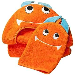 Little Ashkim Monster Hooded Turkish Towel and Mitten Set:Toddler, Orange, 2T -5T