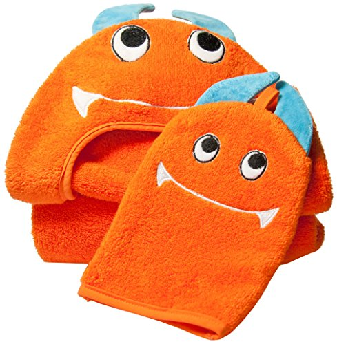 UPC 811881020236, Little Ashkim Monster Hooded Turkish Towel and Mitten Set:Toddler, Orange, 2T -5T