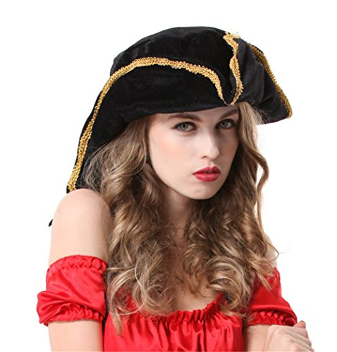 [Pavian Halloween props cos accessories Buccaneer triangular Tricorn hat Pirates for women] (Buccaneer Beauty Costume)