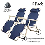 Dporticus Set of 2 Large Outdoor Patio Portable Folding Adjustable Chaise Lounge Chair with Footrest and Removable Pillow