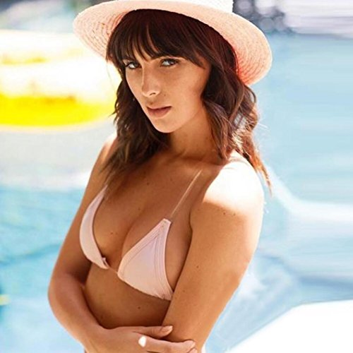 LHWY Mujer Transparente Correas Bikini Conjunto Push-Up Bra BañO BañAdor De BañO Rosa