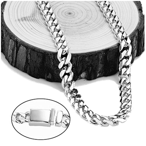18K White Gold Diamond Cut Cuban Chain Necklace 9MM Miami Link With Warranty of a LifeTime USA Made!(24) by 18k white gold cuban link