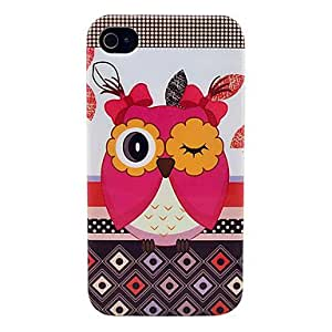 Lovely Owl Pattern Soft TPU IMD Case for iPhone 4/4S