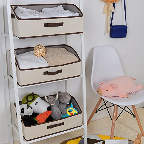 StorageWorks Storage Bins, Fabric storage Baskets, Foldable Closet Organizer Trapezoid Storage Box By, Polyester Canvas, Beige, EX-Jumbo, 3-Pack