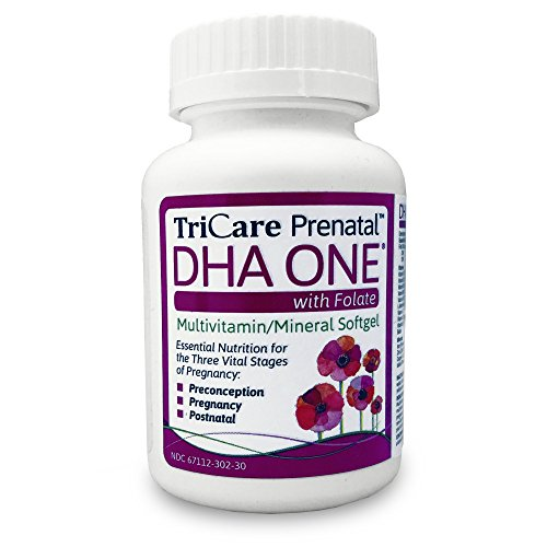 TriCare Prenatal™ DHA ONE with Folate - 14 Vitamins and Minerals plus DHA and L-Methylfolate - non-GMO and Gluten Free (Vitamins Iodine Prenatal)