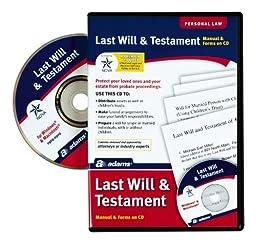 Adams Prepare A Last Will and Testament Software, CD Version includes e-Book (ALC602)