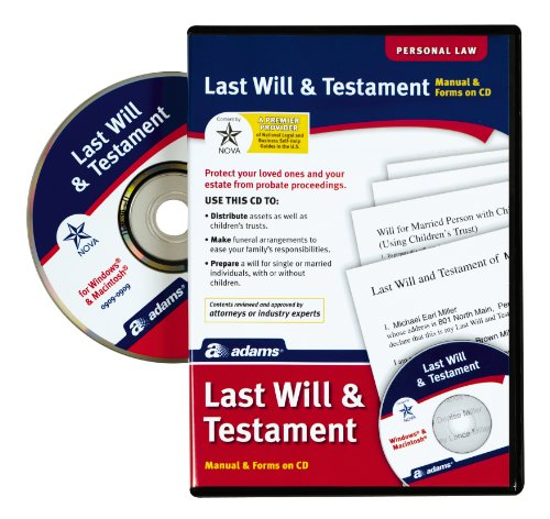 Tops Adams Prepare A Last Will and Testament Software, CD...