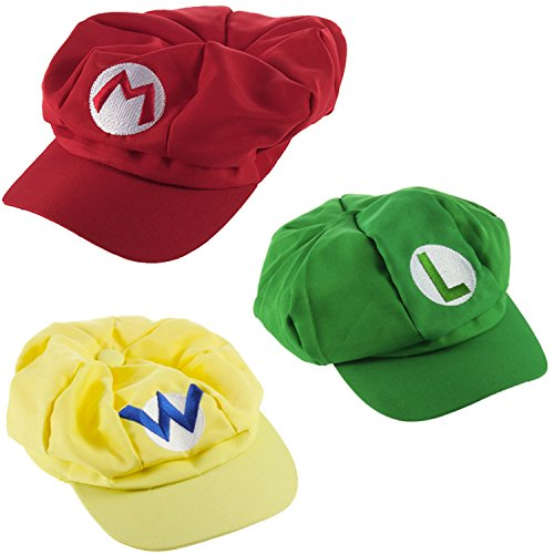 Super Mario Kart Hats: Mario, Luigi and Wario Caps (3 Pack) ()