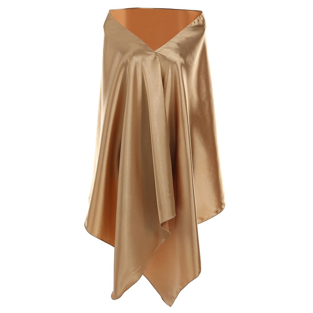 golden YesBeste Satin Formal Wraps and Shawls for Evening Party (Size 75 x26 )
