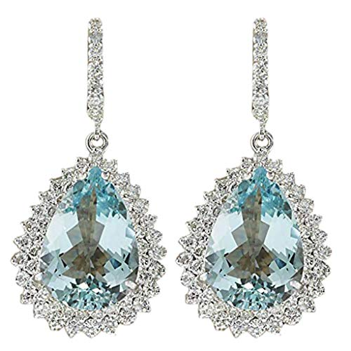 XBKPLO Earrings for Women's Fashion Dangling Temperament Elegant Aquamarine Gemstone Teardrop Silver Earrings Alloy Lady Jewelry Gifts