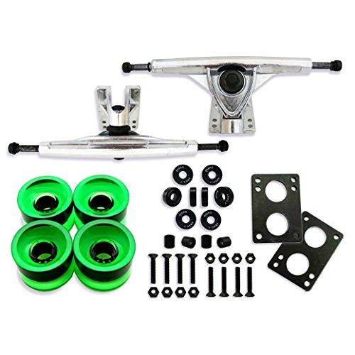 Vj skateshop Longboard Skateboard Combo Package with 70mm Wheels 7inch 180mm Aluminum Trucks, Bearings Hardware Complete Set ()