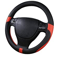World 9.99 Mall Microfiber Leather Car Steering Wheel Cover with Universal Fit 15in(38cm),No-slip and Red/Black, White/Gray/Beige (black with red)