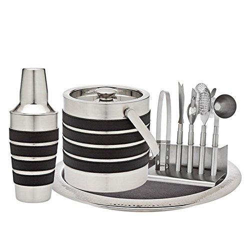 Bucket Knife (Godinger Silver Art Modern Stripe 7-piece Leather Stainless Steel Home Bar Cocktail Drink Tool Kit Set With Ice Tongs, Ice Bucket, Bottle Opener, Strainer, Jigger, Shaker & Bar Knife)