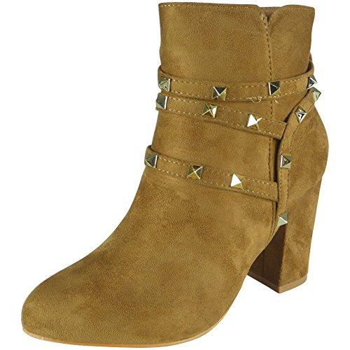 Stiefeletten Wildleder 3 Damen Damen Schuhe Party Reißverschluss Größe Kamel Ferse Faux Nieten Mitte 8 E8qqPgn