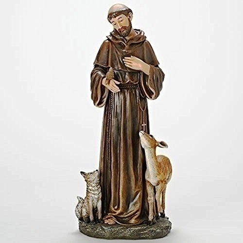Brown Robed St. Francis and Woodland Animals 18 inch Resin Stone Figurine Statue