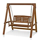 Furinno FG16409 Tioman Hardwood Patio Furniture Porch Swing with Stand in Teak Oil, 2-Seater with Frame, Natural