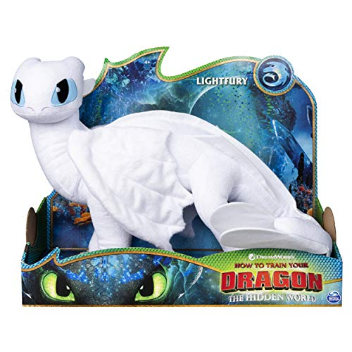 Dreamworks Dragons Lightfury, 14-inch Deluxe Plush Dragon, for Kids Aged 4 and Up (14 In Plush)