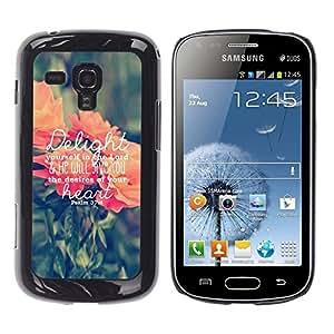FlareStar Colour Printing Delights Text Love God Spring Peach Green cáscara Funda Case Caso de plástico para Samsung Galaxy S Duos / S7562