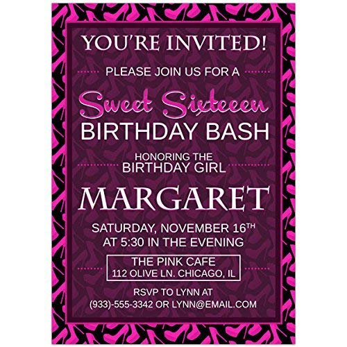 Image Unavailable Not Available For Color Pink Heels Sweet Sixteen 16 Birthday Party Invitations