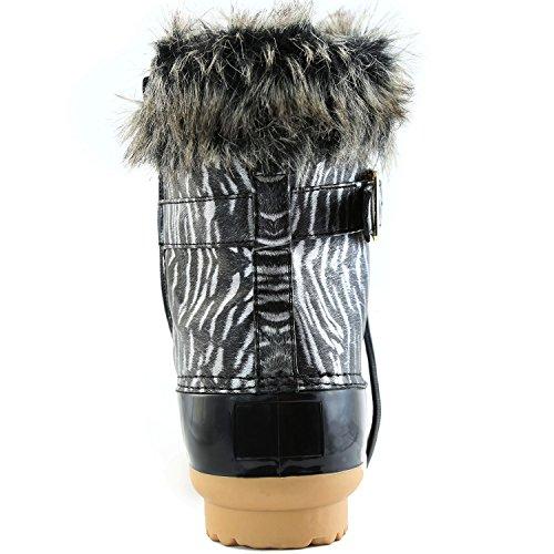 Dailyshoes Donna Stivali Da Neve Su Fibbia Alla Caviglia Anatra Imbottita Stivali Da Pioggia In Gomma Fango Zebra