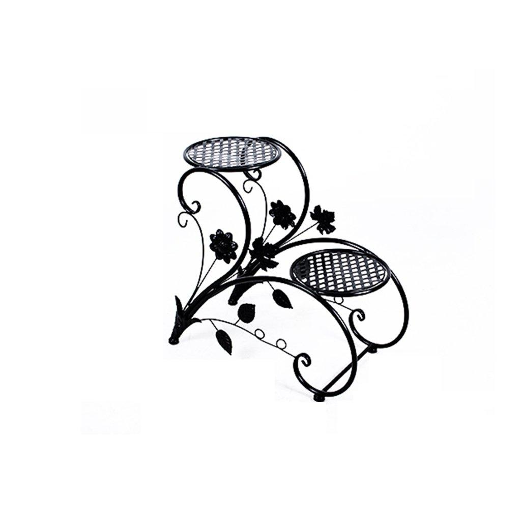 WHYDIANPU Portaoggetti da Terra per balconi cremagliera per Fiori in Ferro battuto per Interni ed Esterni Forniture da Giardinaggio (colore   Nero)