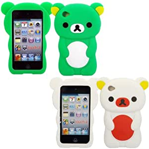2 Pack Teddy Silicona Concha Caso Cubrir Para Apple iPod Touch 4 4th Generation / Green And White