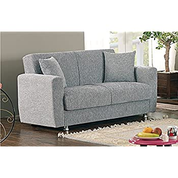 BEYAN Niagara Collection Contemporary Upholstered Convertible Storage Love Seat with Easy Access Storage Space Includes 2 Pillows Gray  sc 1 st  Amazon.com & Amazon.com: BEYAN Niagara Collection Modern Fold Out Convertible ...