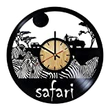 Safari Africa Vinyl Wall Clock – Handmade Gift for any Occasion – Unique Birthday, Wedding, Anniversary, Wall Décor Ideas for any Space
