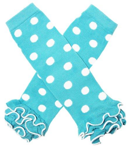 Turquoise & White Polka Dot Ruffle Leg Warmers