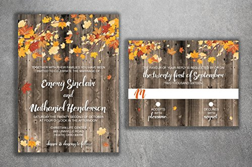 Leaves Fall Wedding Invitation (Autumn Wedding Invitation Set - Country Wedding Invitations, Affordable, Wood, Leaves, October, Maroon and Orange, September, Rustic, Fall)