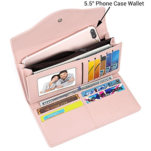 UTO Damen PU Leder Portemonnaie Geldbörse gross Capacity 5.5 Reißverschluss Phone Case Karte Halter Organizer Purse pink- Pink DJ3uGJY87a