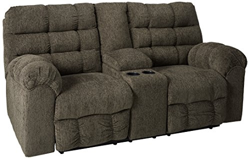 Ashley Furniture Signature Design – Acieona Recliner Loveseat with Console – Pull Tab Manual Reclining – Slate Gray