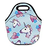 Bonamana Emoji Unicorn Lunch Box Food Container Tote Bag with 3D Printing Digital Pattern for School Picnic Work Office (Unicorn-C)