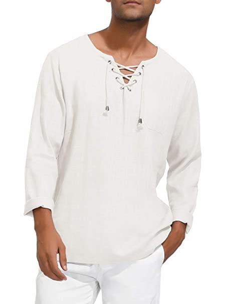 Mens Casual Cotton Henley Shirt Renaissance Hippie Beach Yoga Top